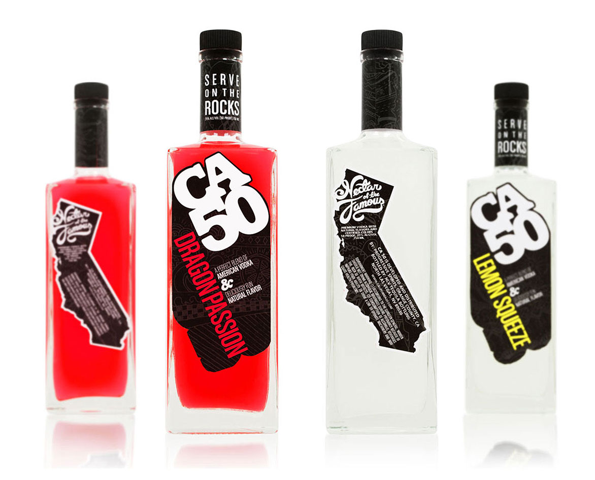 CA50 California lifestyle Party Vodka labels, branding and naming